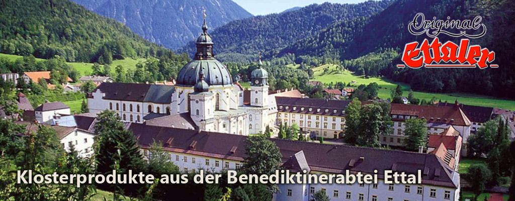Foto Kloster Ettal mit Text Klosterprodukte aus der Benediktinerabtei Ettal